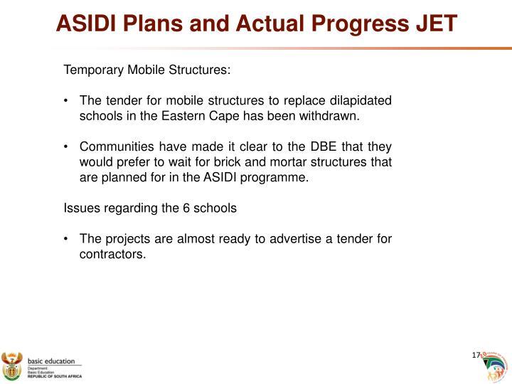 ASIDI Plans and Actual Progress JET