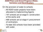 asidi plans and actual progress water sanitation and electrification1