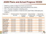 asidi plans and actual progress wced1