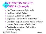 definition of key words example