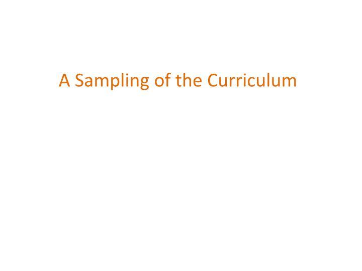 A Sampling of the Curriculum