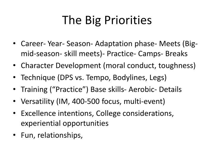 The Big Priorities