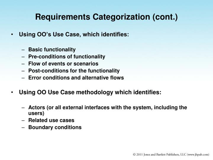 Requirements Categorization (cont.)