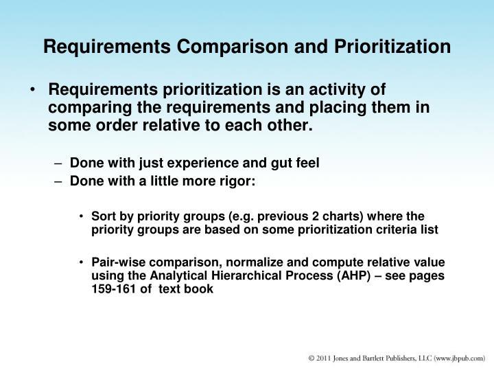 Requirements Comparison and Prioritization