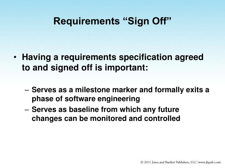 """Requirements """"Sign Off"""""""