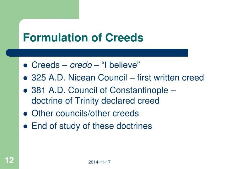 Formulation of Creeds
