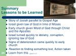 summary lessons to be learned