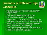 summary of different sign languages