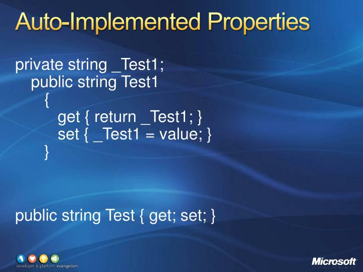 Auto-Implemented Properties