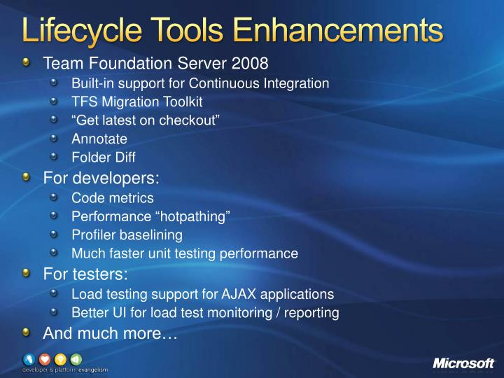 Lifecycle Tools Enhancements