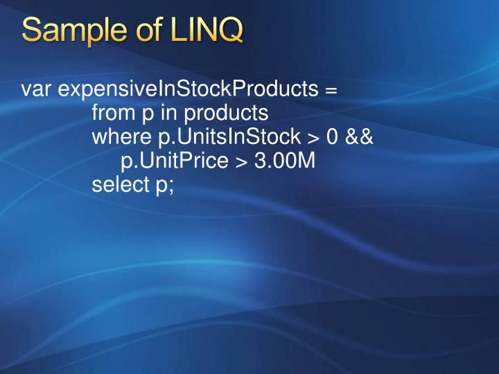 Sample of LINQ