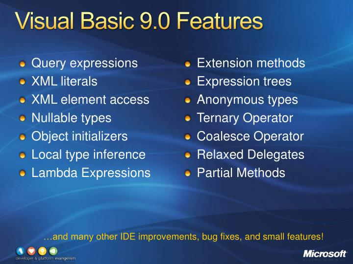Visual Basic 9.0 Features