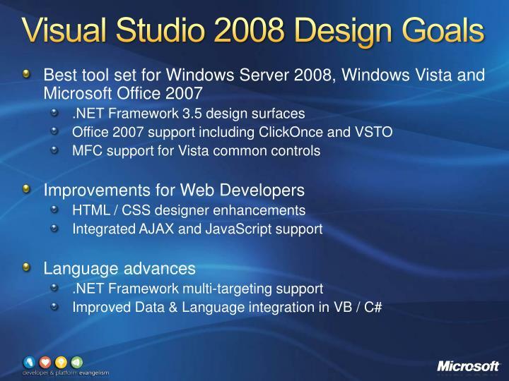 Visual Studio 2008 Design Goals