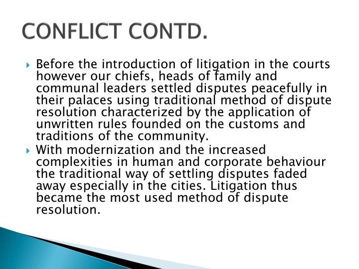 CONFLICT CONTD.