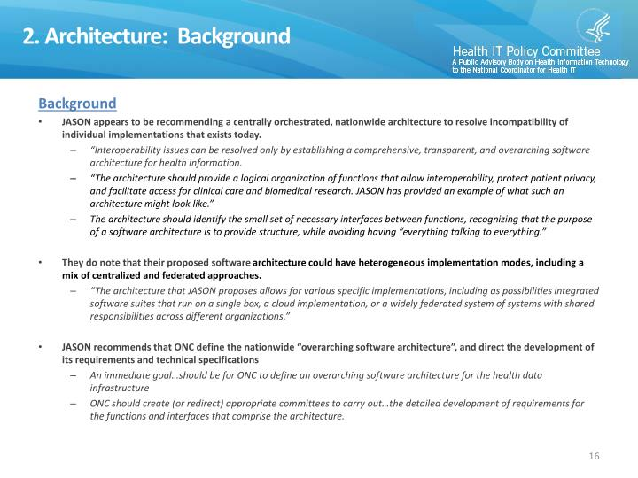 2. Architecture:  Background