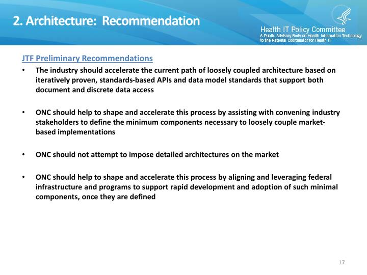 2. Architecture:  Recommendation