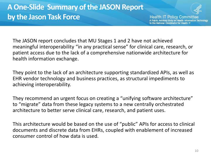 A One-Slide  Summary of the JASON Report