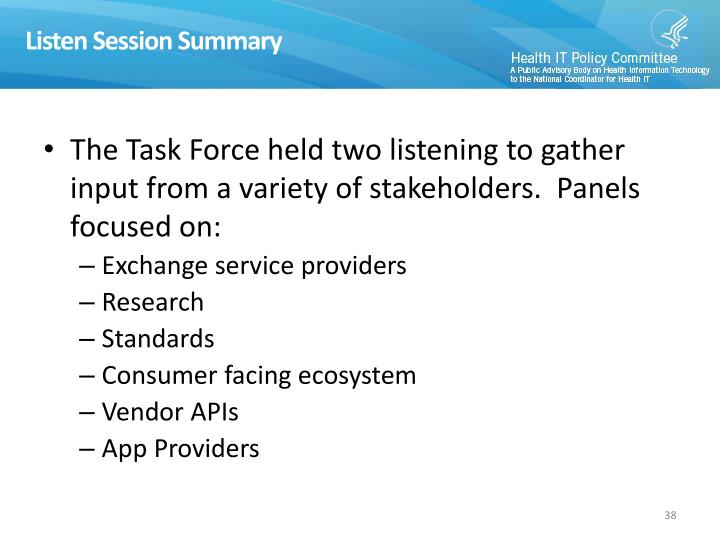 Listen Session Summary