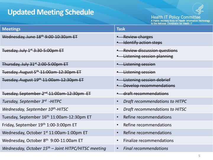 Updated Meeting Schedule