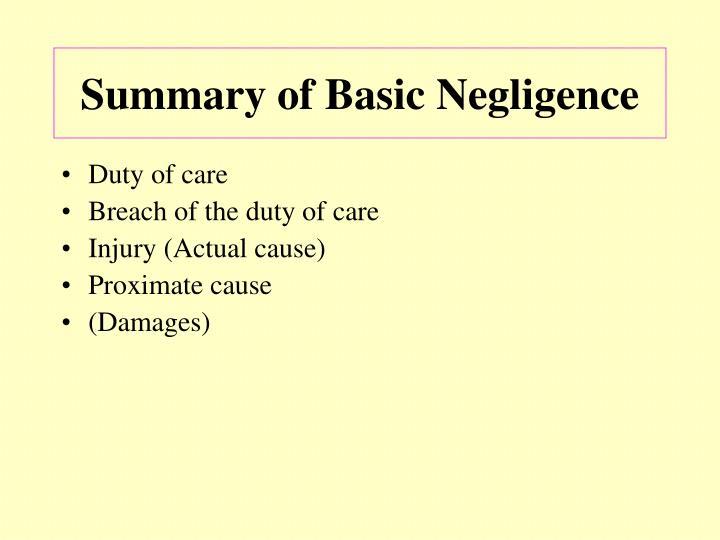 Summary of Basic Negligence