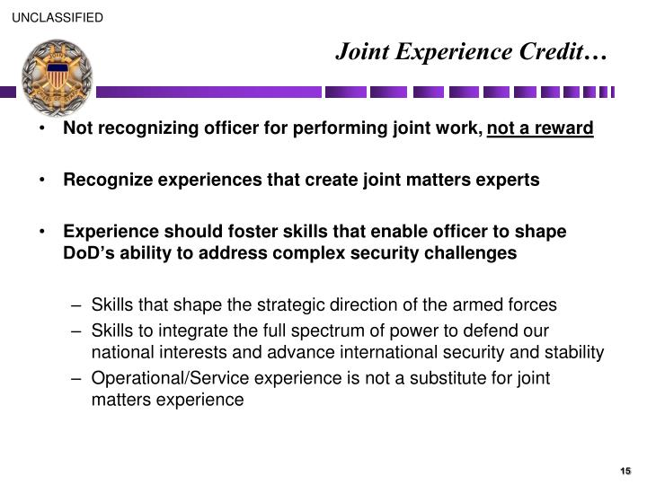 Joint Experience Credit…