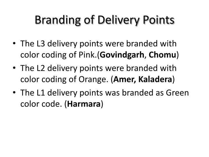 Branding of delivery points