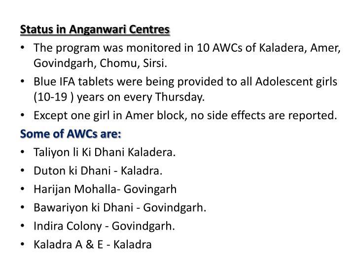 Status in Anganwari Centres