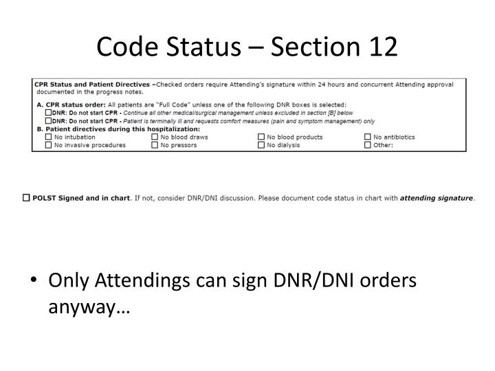 Code Status – Section 12