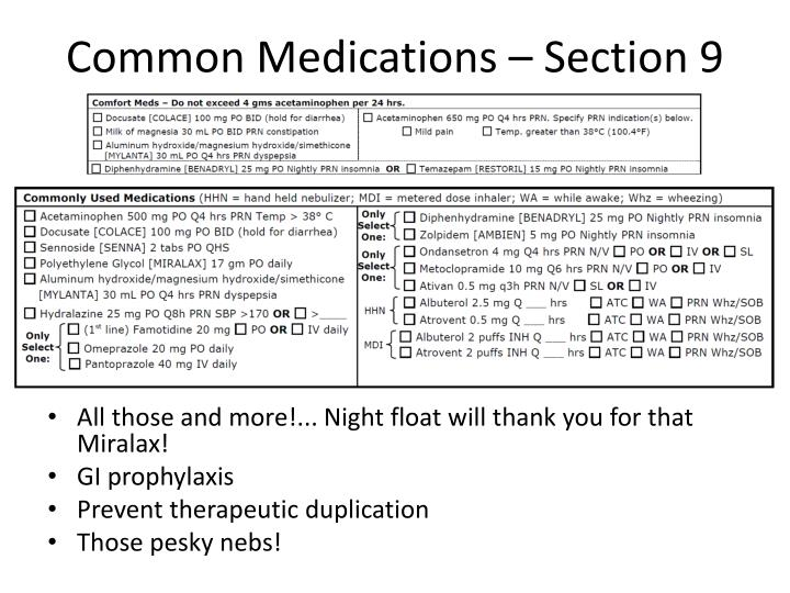 Common Medications – Section 9