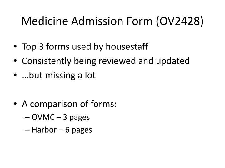 Medicine Admission Form (OV2428)
