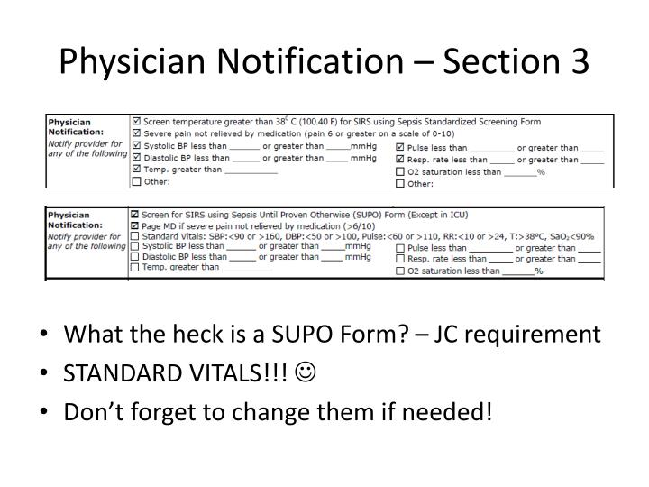 Physician Notification – Section 3