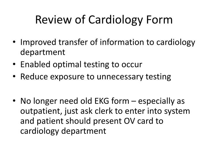 Review of Cardiology Form