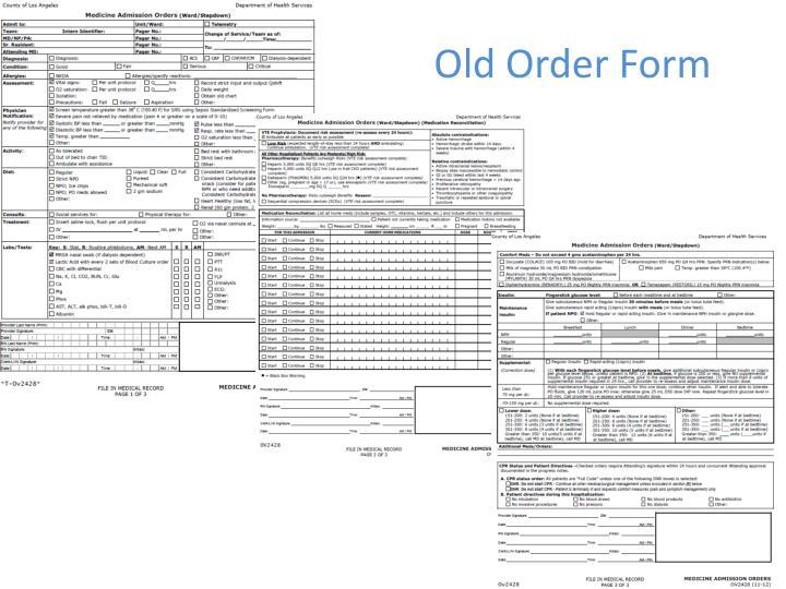 Old Order Form