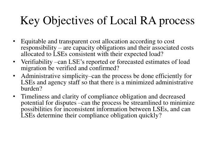 Key Objectives of Local RA process