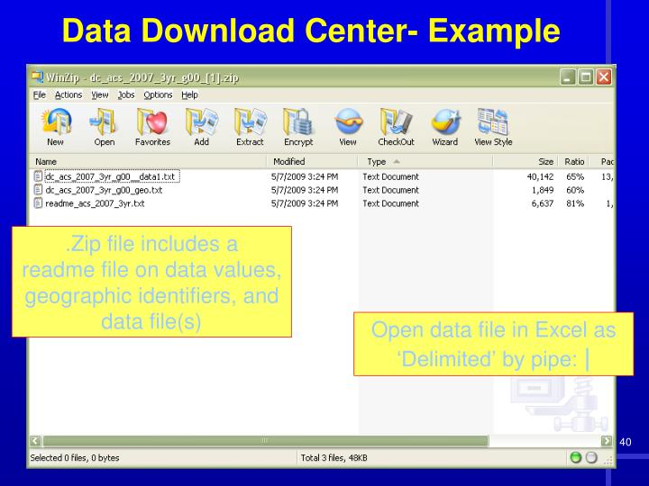 .Zip file includes a