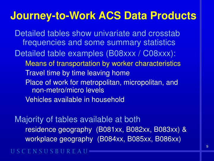 Journey-to-Work ACS Data Products