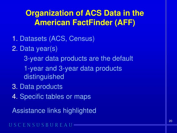 Organization of ACS Data in the American FactFinder (AFF)