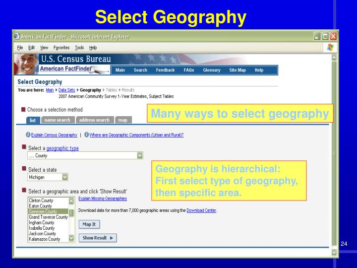 Many ways to select geography