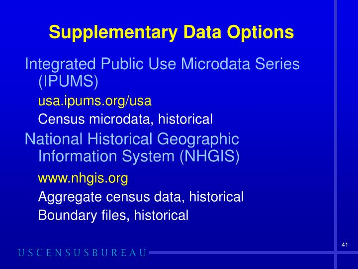 Supplementary Data Options