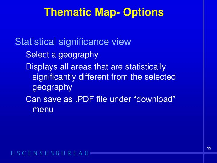 Thematic Map- Options