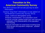 transition to the american community survey