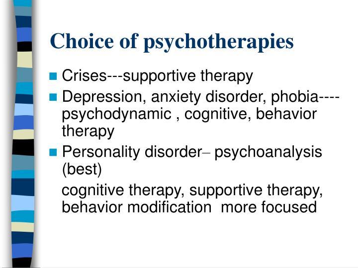 Choice of psychotherapies