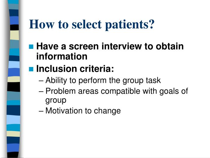 How to select patients?