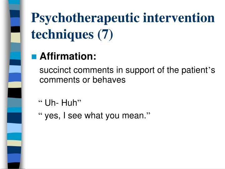 Psychotherapeutic intervention techniques (7)
