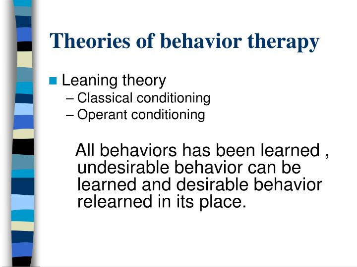 Theories of behavior therapy