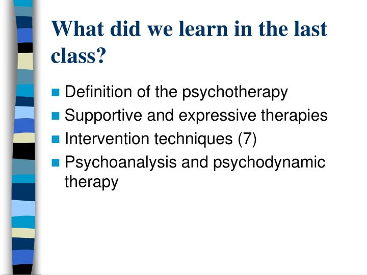 What did we learn in the last class?