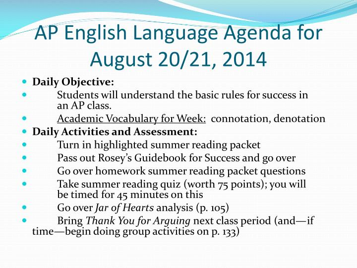Ap english language agenda for august 20 21 2014
