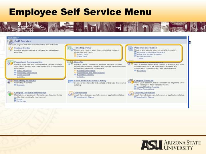 Employee Self Service Menu