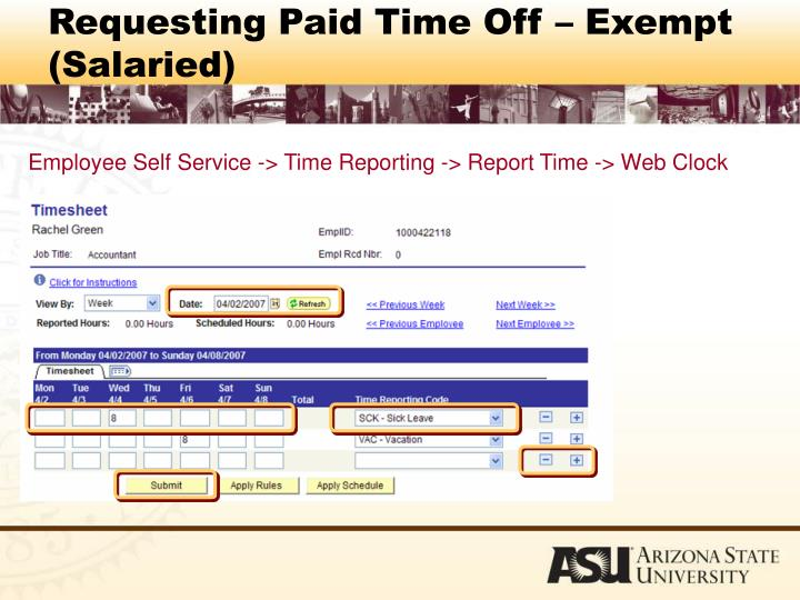 Requesting Paid Time Off – Exempt (Salaried)