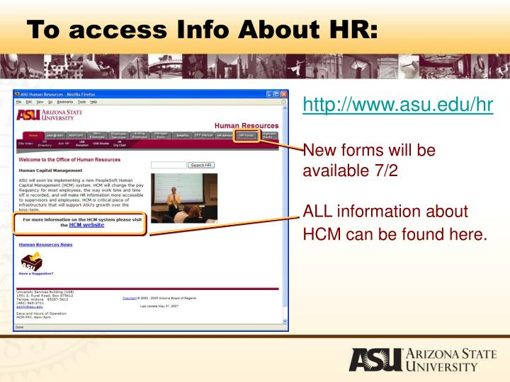To access Info About HR: